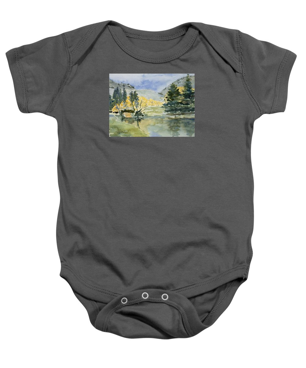 Watercolor Baby Onesie featuring the painting Rustic Reflections by Mary Benke