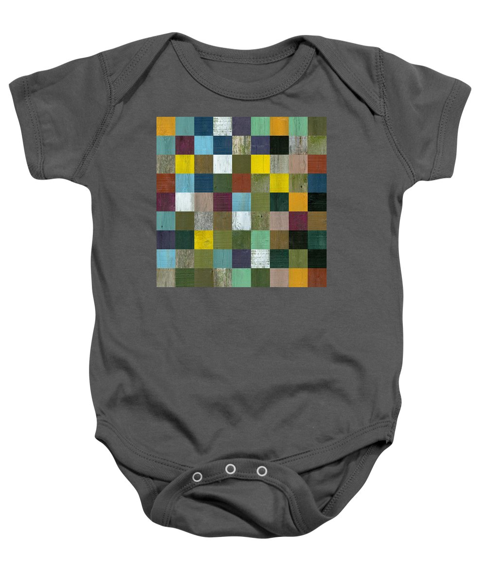 Textured Baby Onesie featuring the digital art Rustic Wooden Abstract by Michelle Calkins