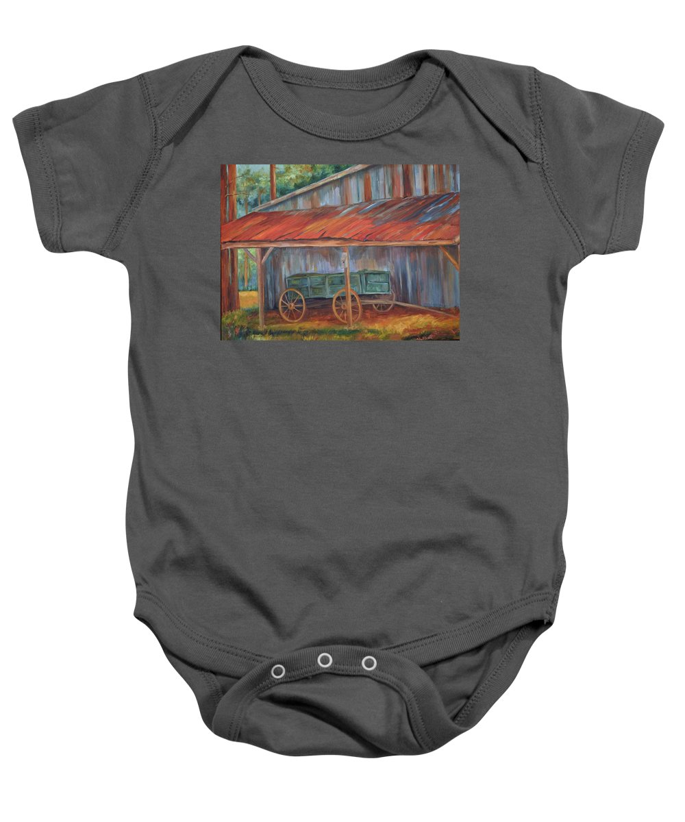 Old Wagons Baby Onesie featuring the painting Rustification by Ginger Concepcion