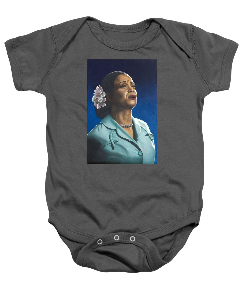 Portrait Baby Onesie featuring the painting Ruth Jacott by Rob De Vries