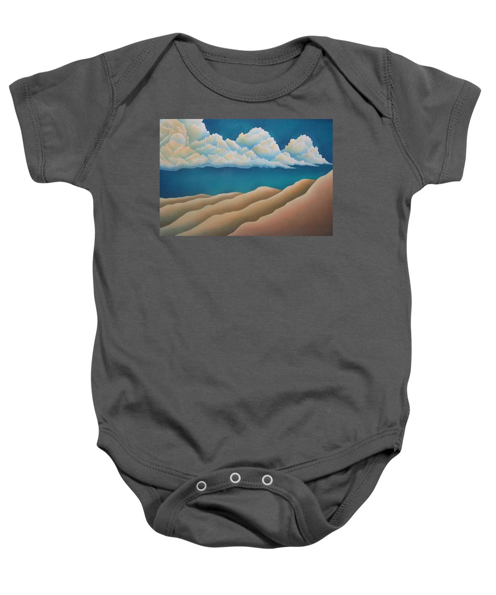 Landscape Baby Onesie featuring the painting Sacred Night by Jeniffer Stapher-Thomas