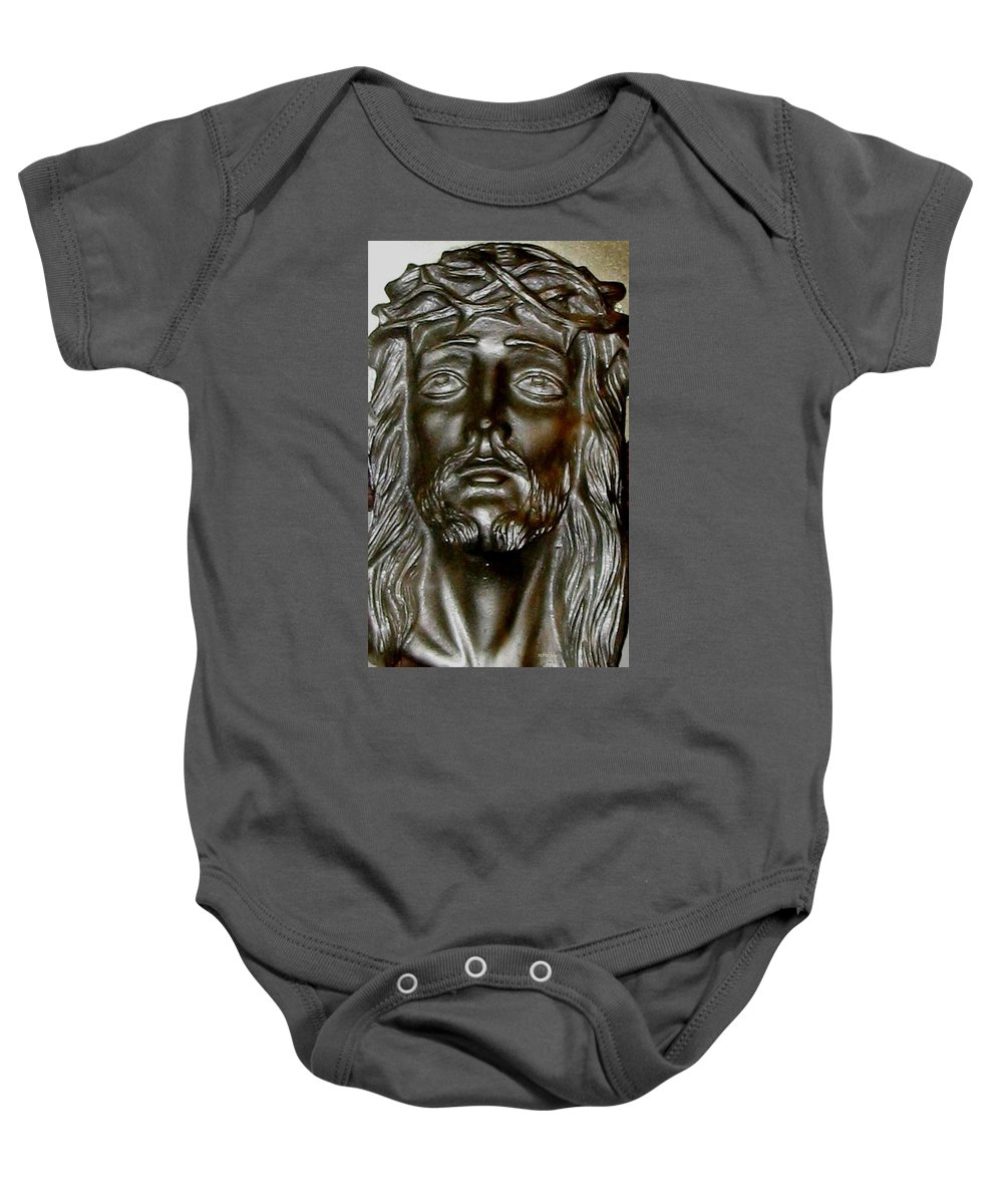 Christ Baby Onesie featuring the photograph Sacrifice by Maria Urso