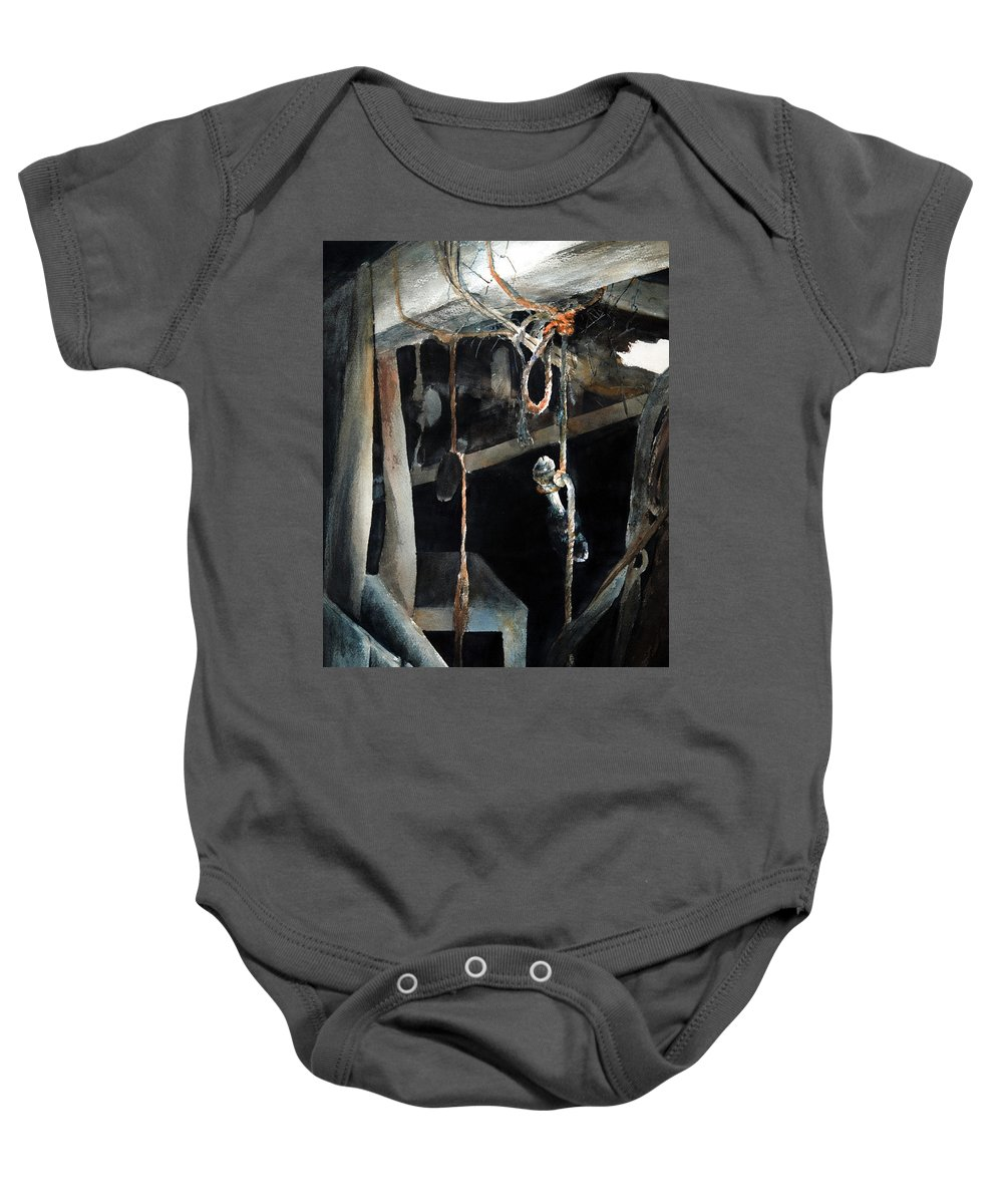 Abstract Baby Onesie featuring the painting Sacrifice by Rachel Christine Nowicki