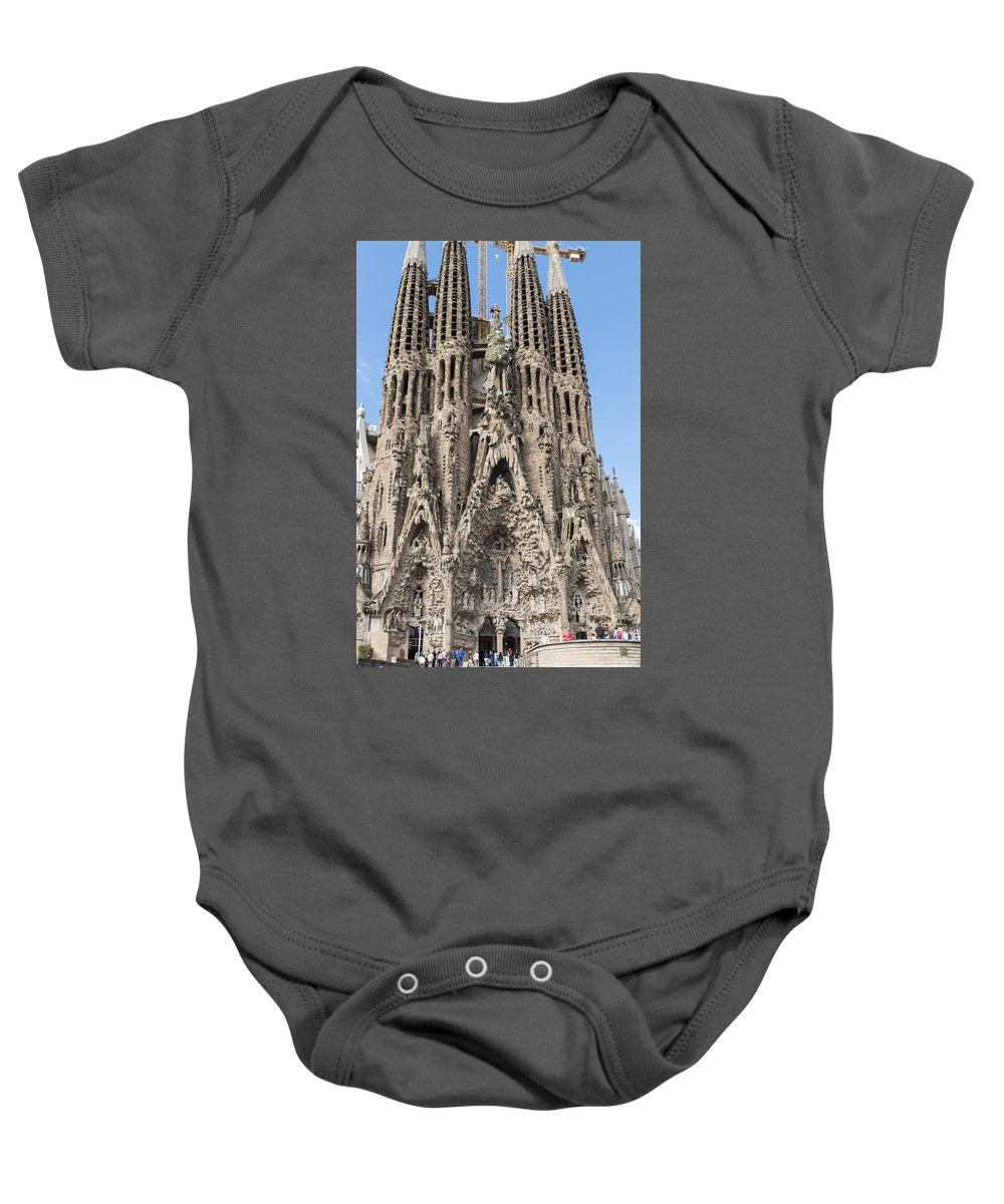 Barcelona Baby Onesie featuring the photograph Sagrada Familia - Gaudi Designed - Barcelona Spain by Jon Berghoff