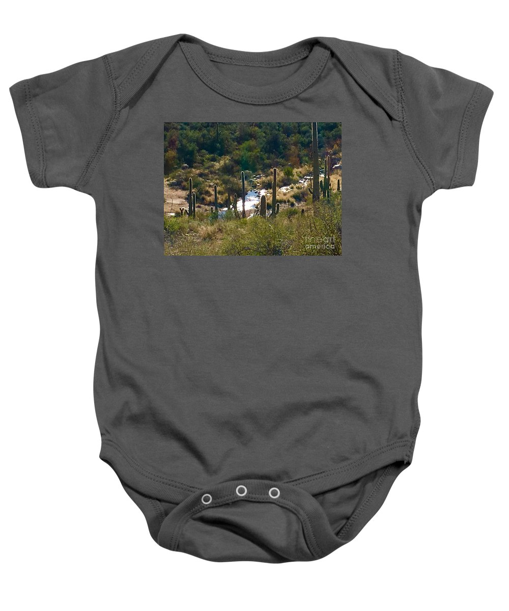 Marie Baby Onesie featuring the photograph Saguaro Creek by Marie Webb