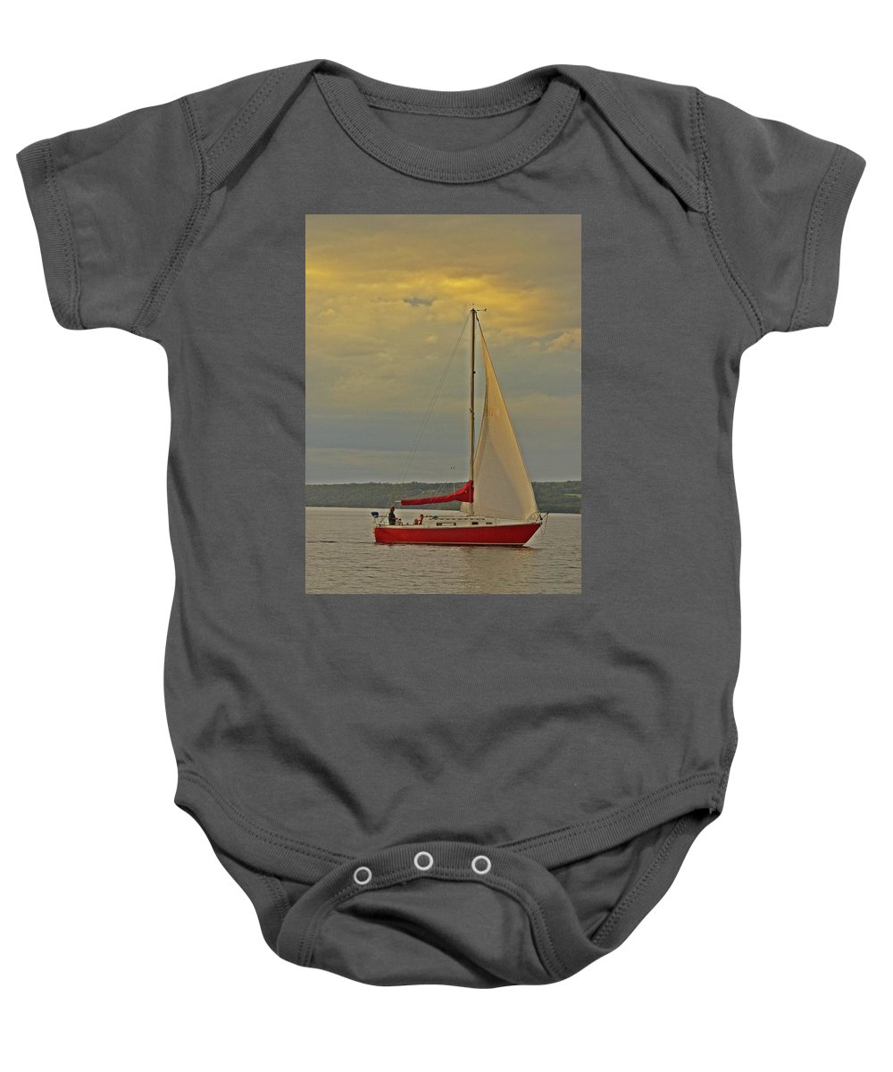 Sailboat Baby Onesie featuring the photograph Sailing Away by JD Bennett