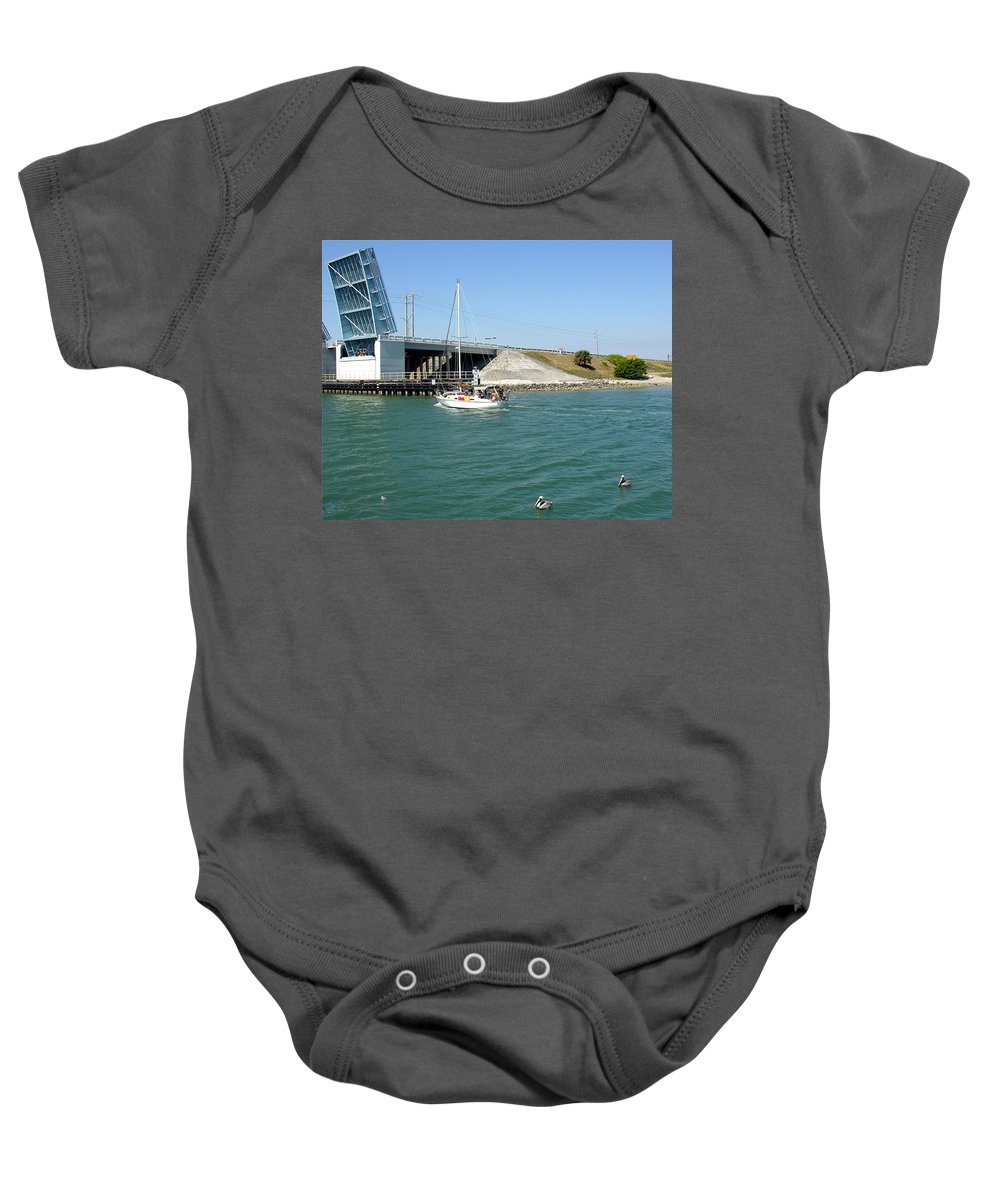 Port; Canaveral; Locks; Sail; Boat; Pelicans; Sailboat Drawbridge; Sailboat; Indian River; Indian; I Baby Onesie featuring the photograph Sailing In Port Canaveral Florida by Allan Hughes