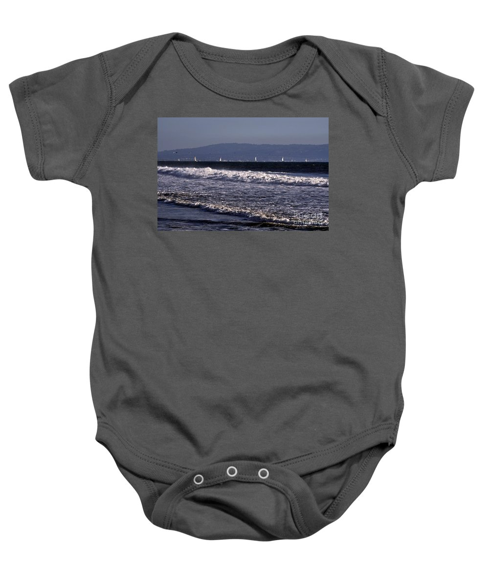 Clay Baby Onesie featuring the photograph Sailing In Santa Monica by Clayton Bruster