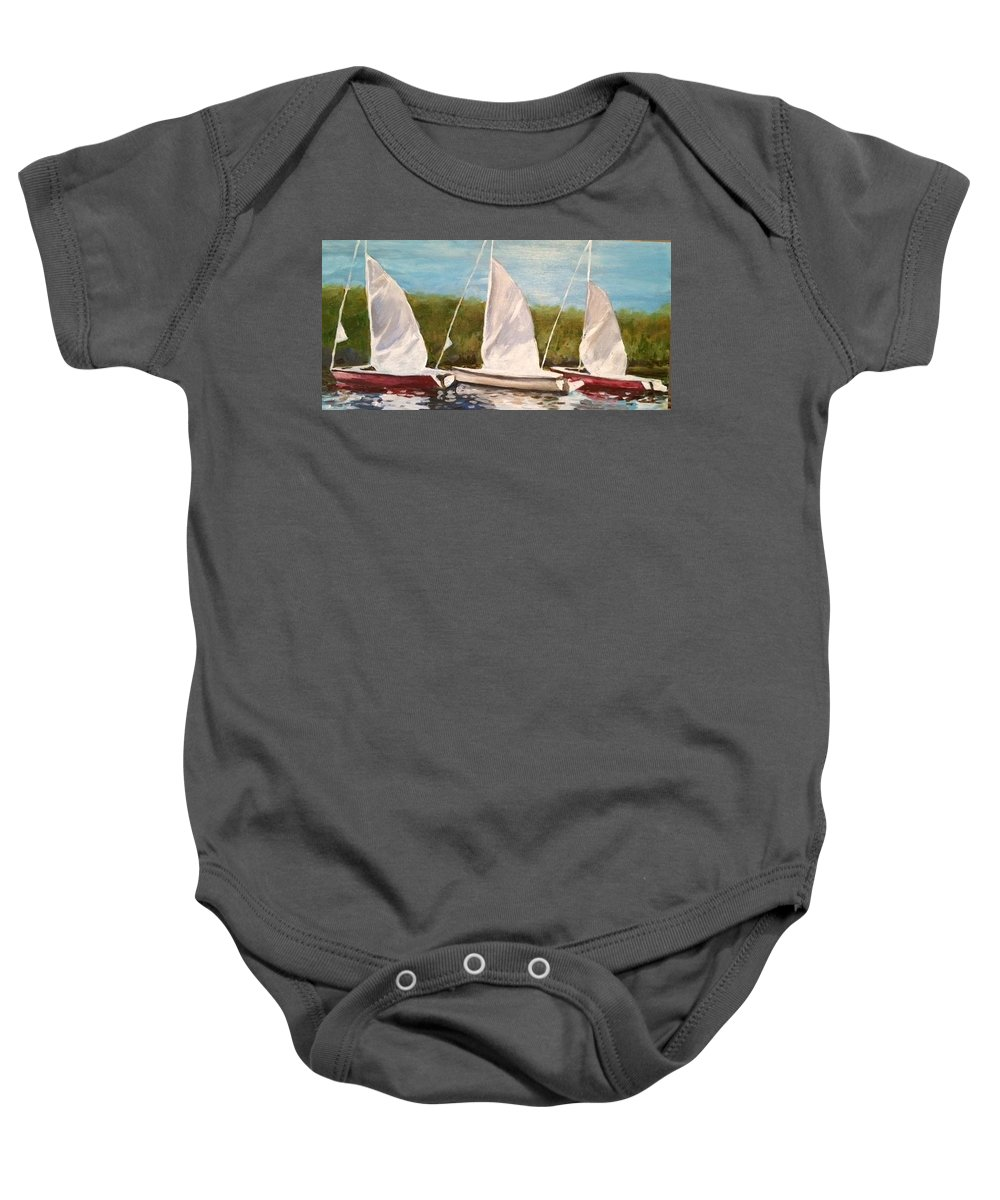 Sailboats Georgian Bay Baby Onesie featuring the painting Sailing School by Liz Lasky