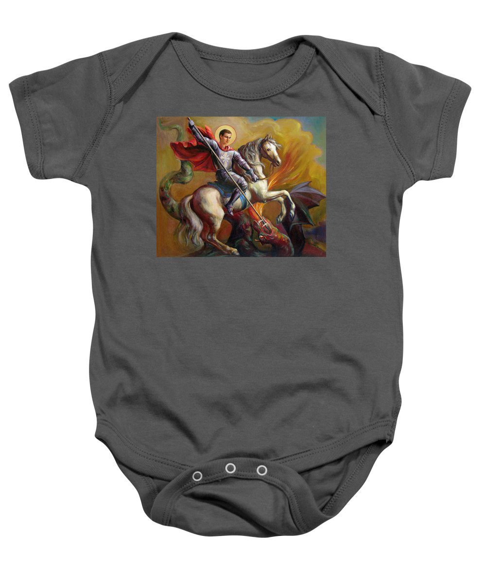 Saint George Baby Onesie featuring the painting Saint George And The Dragon by Svitozar Nenyuk