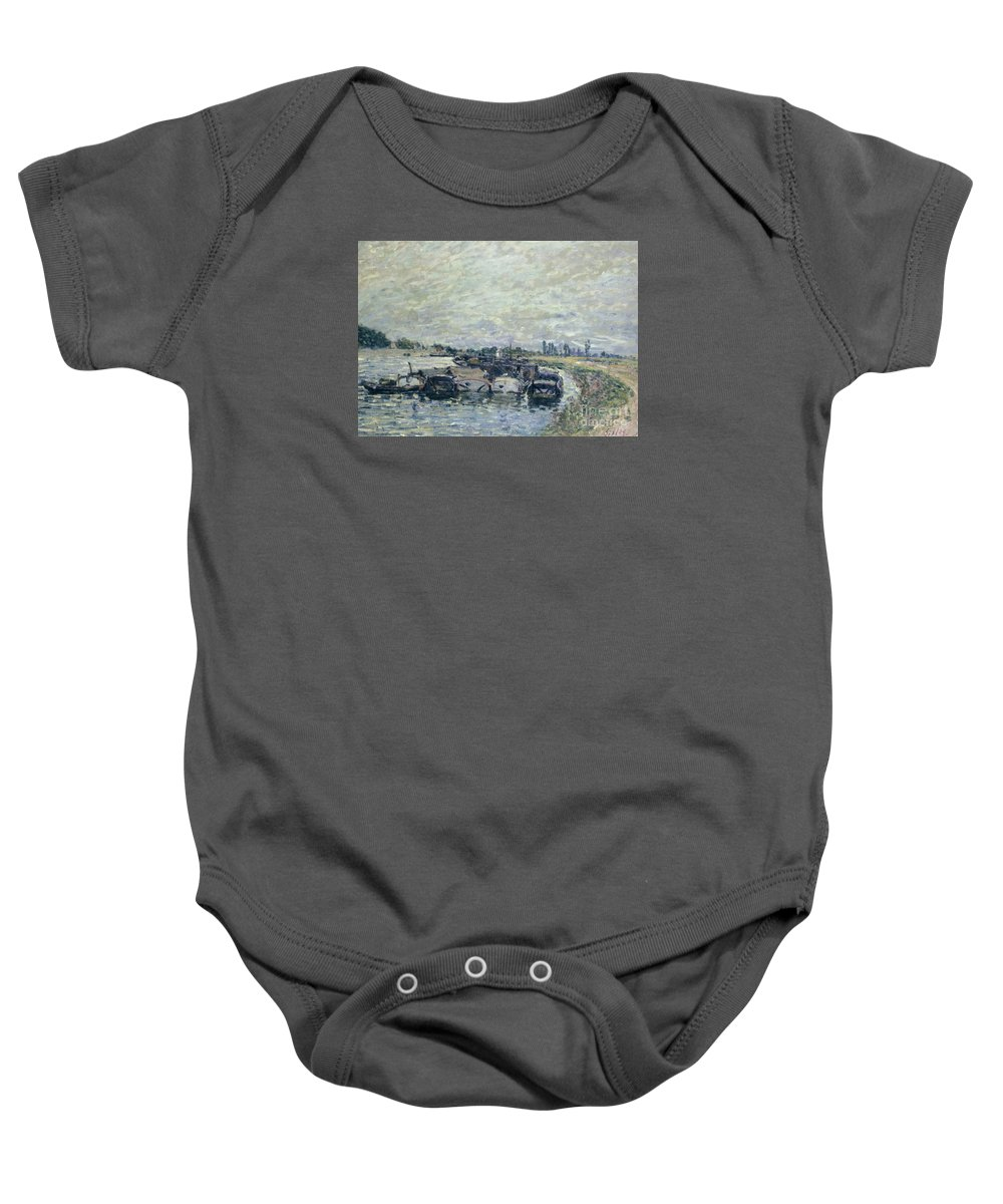 Barge Garage At Saint-mammes Baby Onesie featuring the painting Saint Mammes by MotionAge Designs