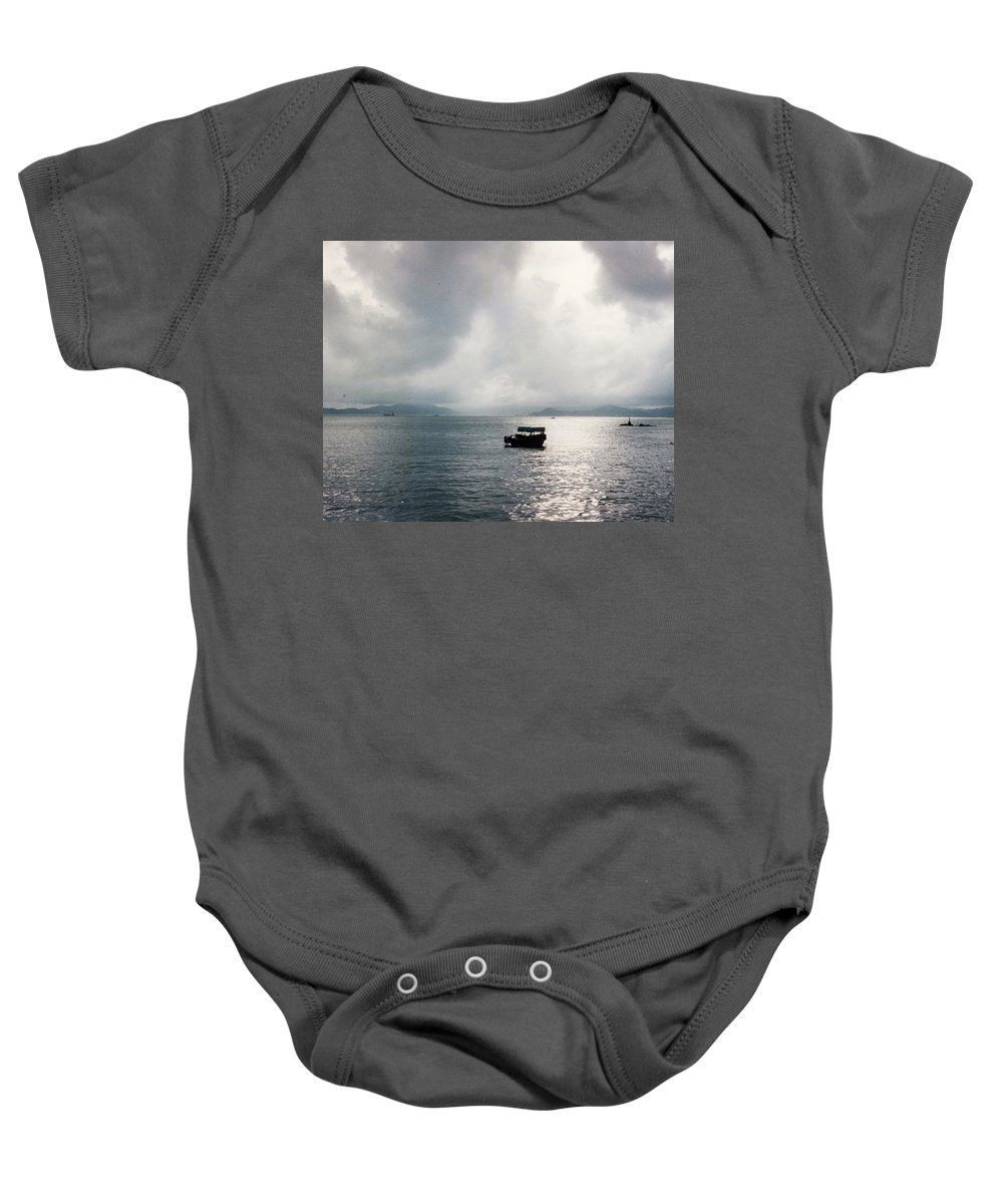 Blue Water Calm Serene White Grey Cloud Sun Light Saipan Boat Harbor Island Nature Travel Art Meditation Yogo Inspirational Universal People Culture Fish Baby Onesie featuring the photograph Saipan by Catherine Maclaren