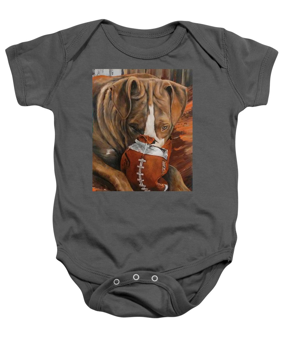 Pitbulls Baby Onesie featuring the painting Sally Ann by Becky Brooks