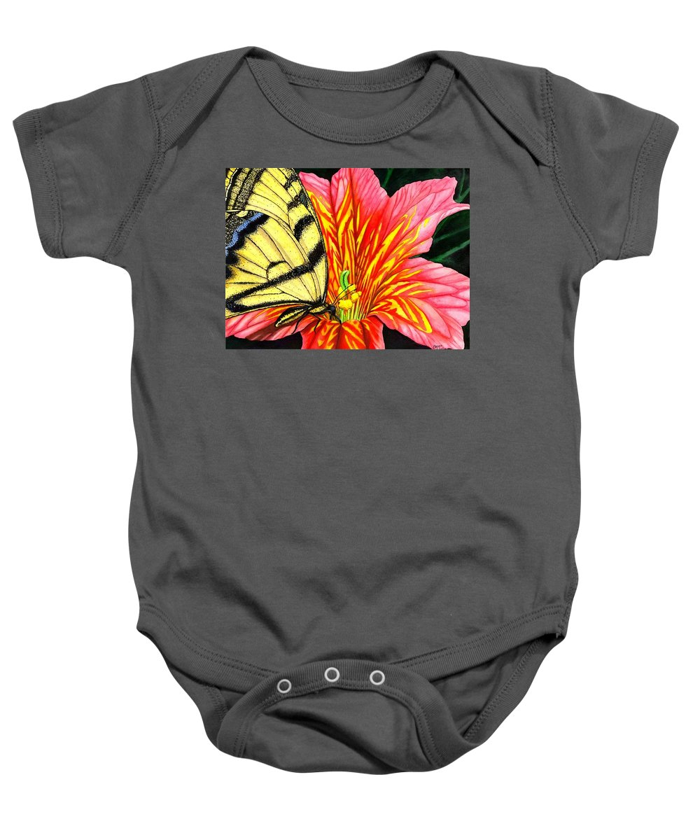 Salpiglossis Baby Onesie featuring the painting Salpliglossis by Catherine G McElroy