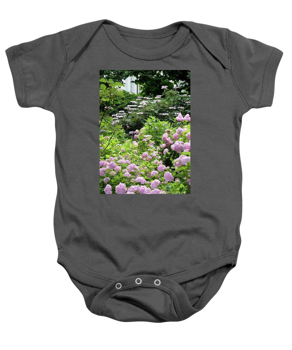 Austria Baby Onesie featuring the photograph Pink Hydrangeas in Mirabell Garden by Carol Groenen