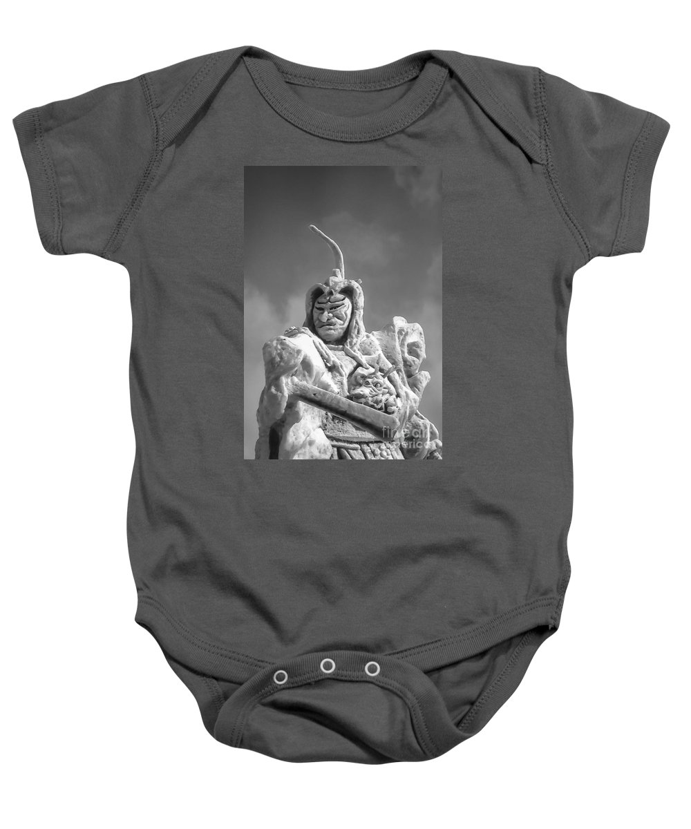 Frozen Samurai Warrior Warriors Ice Festival Sapporo Japan Carving Carvings Snow Snowscape Snowscapes People Person Persons Sculpture Sculptures Black And White Odds And Ends Festivals Baby Onesie featuring the photograph Samurai 2 by Bob Phillips