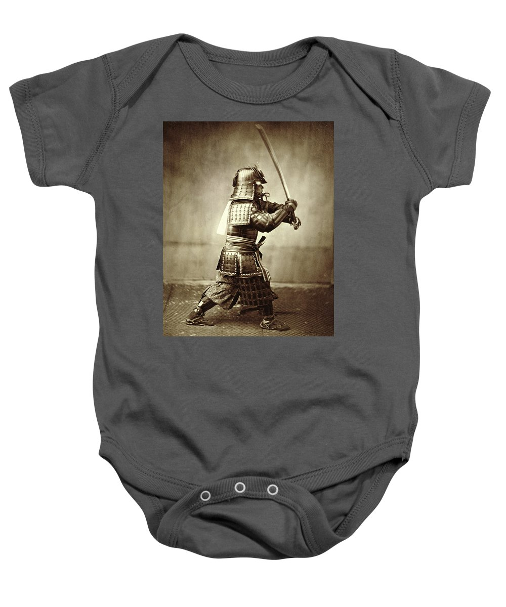 Warrior; Profile; Armor; Helmet; Action; Manoeuvre; Movement; Photo; Photograph; Asian Baby Onesie featuring the photograph Samurai With Raised Sword by F Beato
