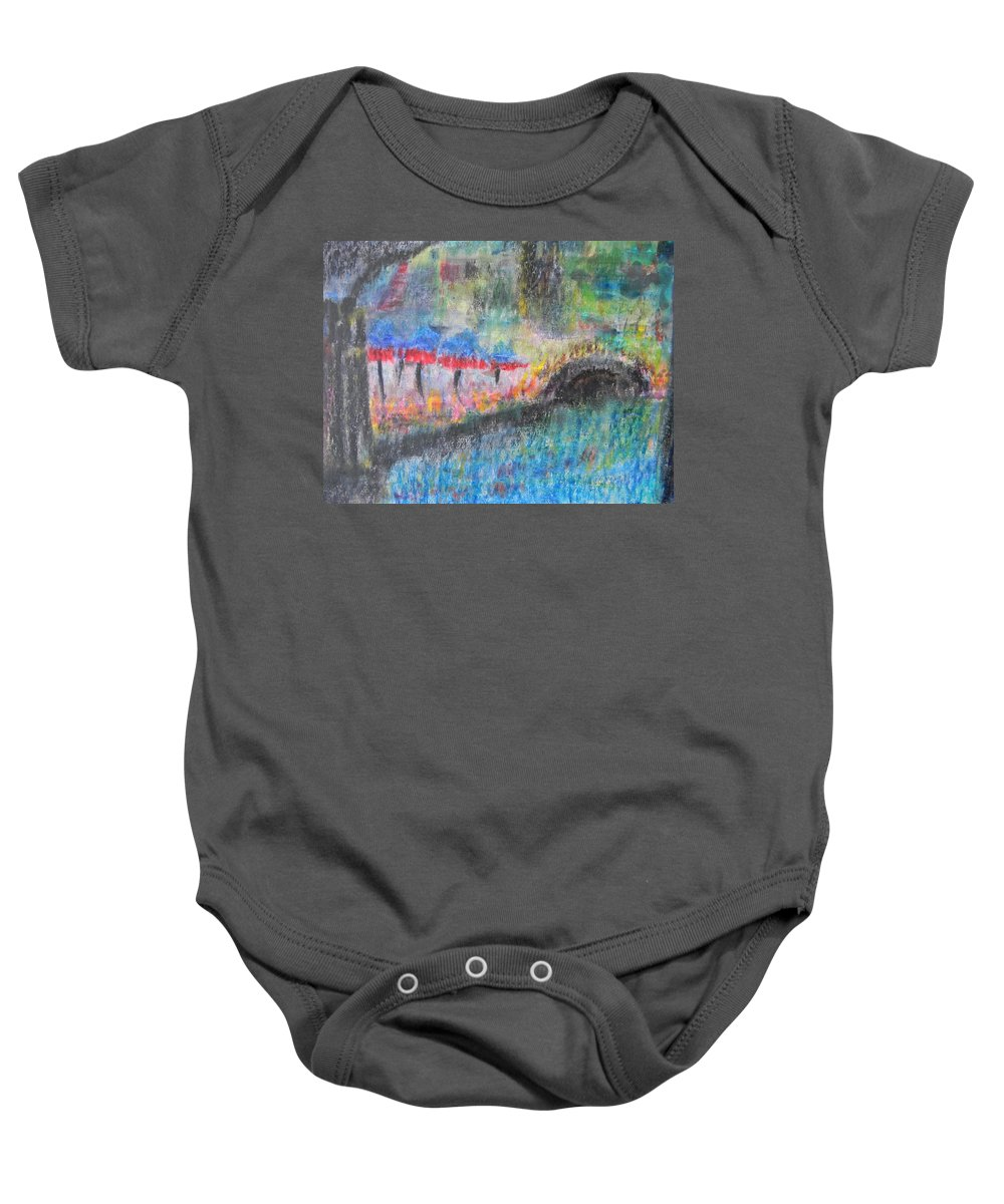 San Antonio Baby Onesie featuring the painting San Antonio By The River I by Marwan George Khoury