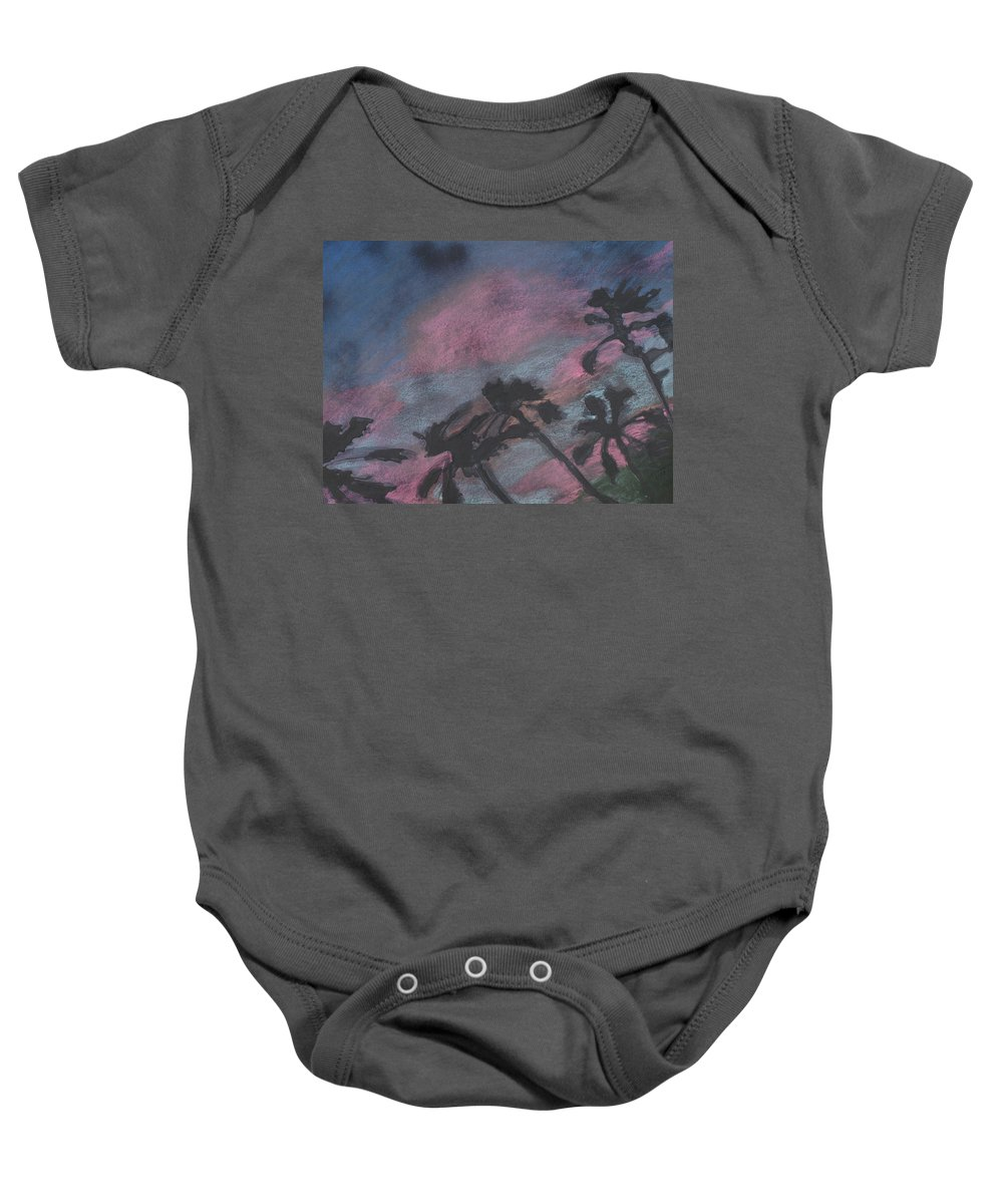 Contemporary Tree Landscapes Baby Onesie featuring the drawing San Diego Palms by Leah Tomaino