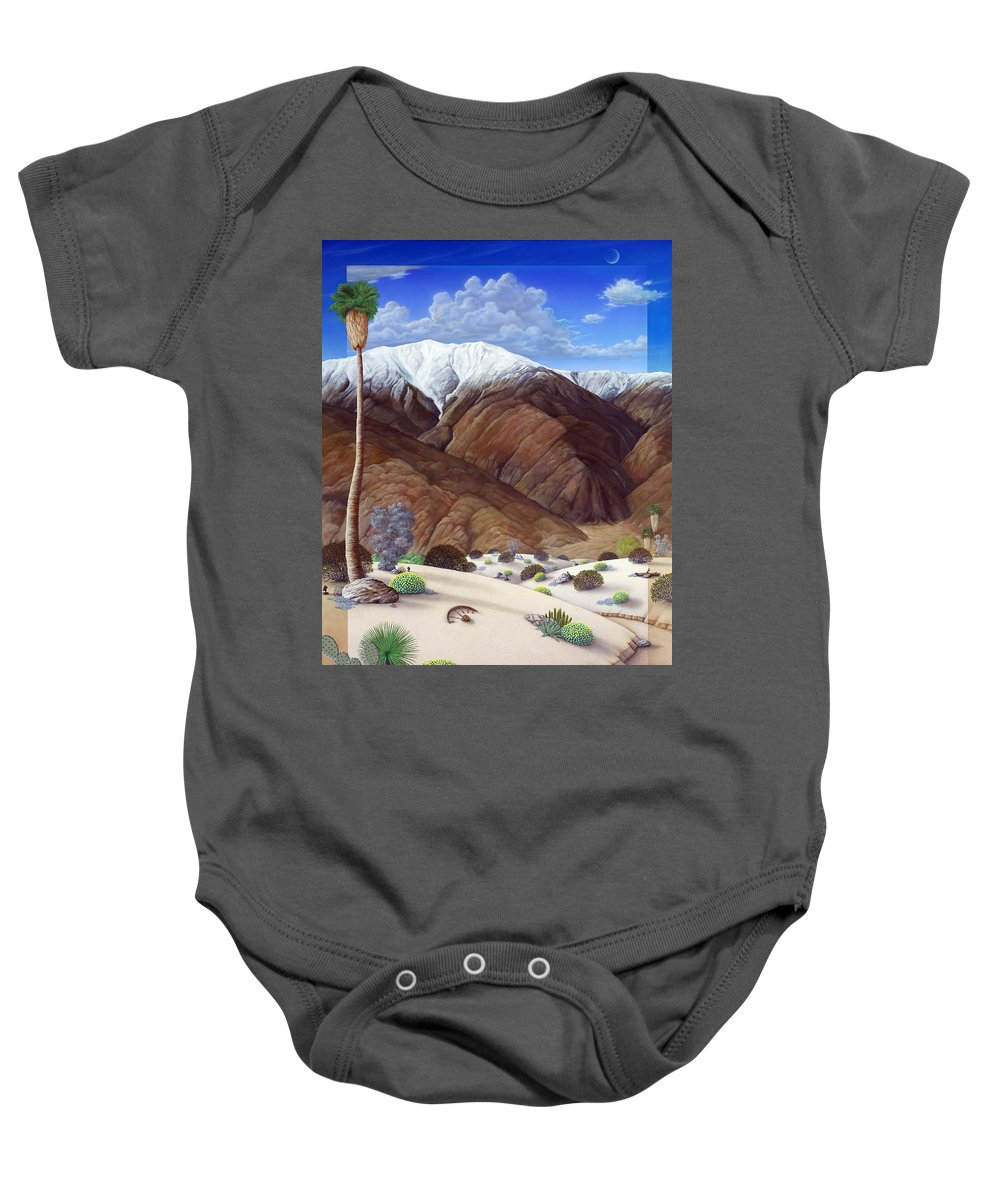 Desert Baby Onesie featuring the painting Snow Creek by Snake Jagger
