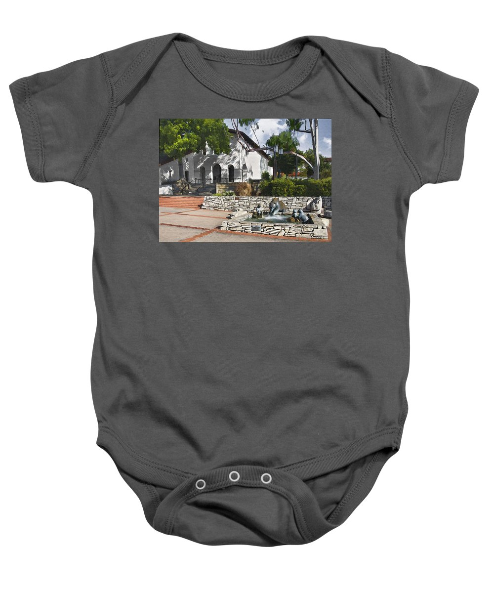 San Luis Mission Baby Onesie featuring the digital art San Luis Mission Fountain by Sharon Foster