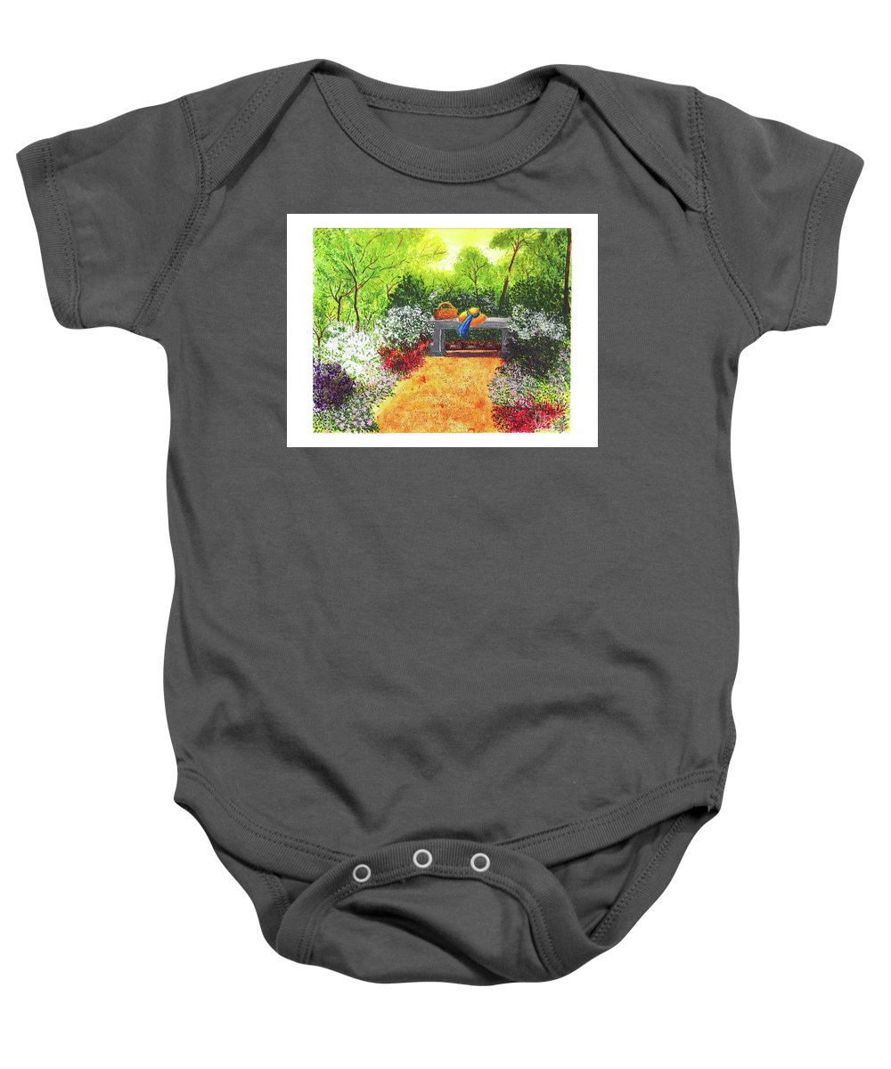 Garden Painting Baby Onesie featuring the painting Sanctuary by Patricia Griffin Brett