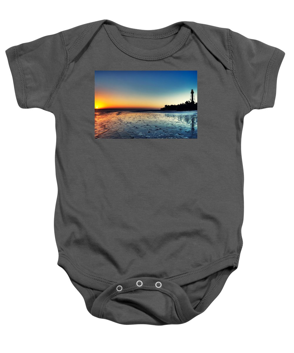 Lighthouse Baby Onesie featuring the photograph Sanibel Sunrise by Rich Leighton