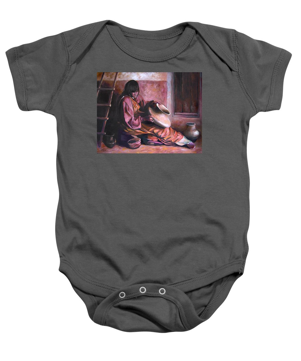 Native American Baby Onesie featuring the painting Santa Clara Potter by Nancy Griswold