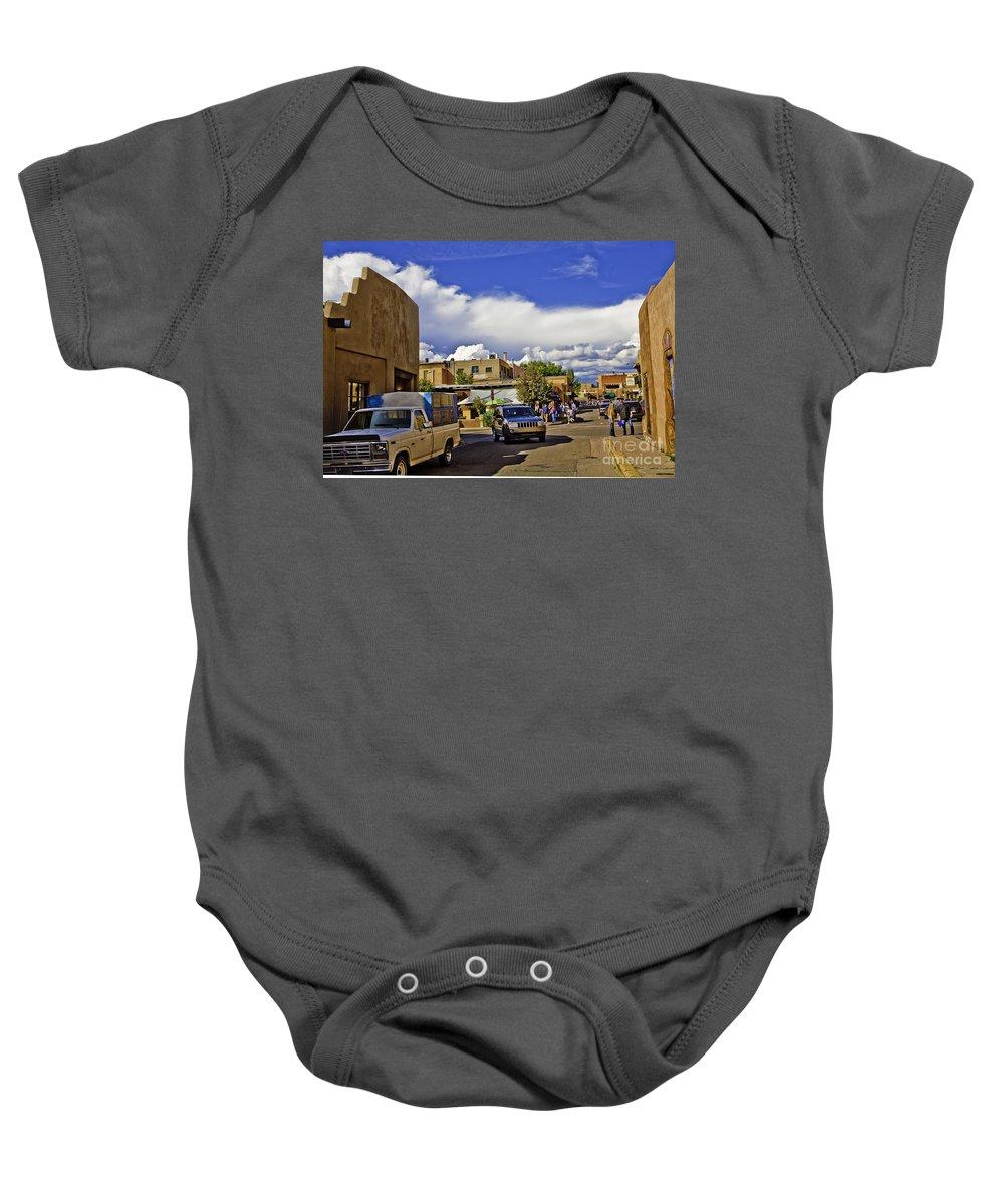 Santa Fe Baby Onesie featuring the photograph Santa Fe Plaza 2 by Madeline Ellis