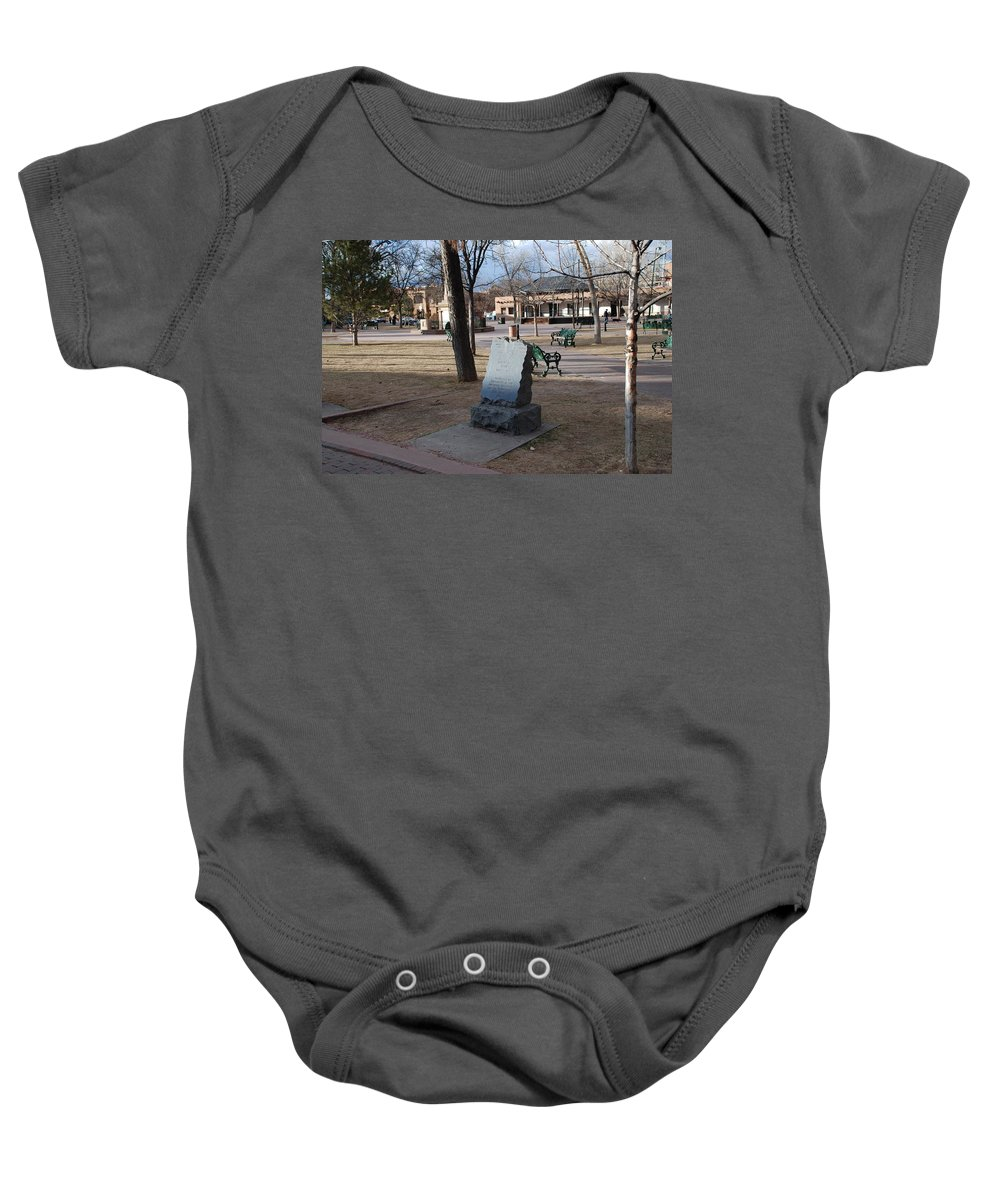 Parks Baby Onesie featuring the photograph Santa Fe Trail Marker by Rob Hans