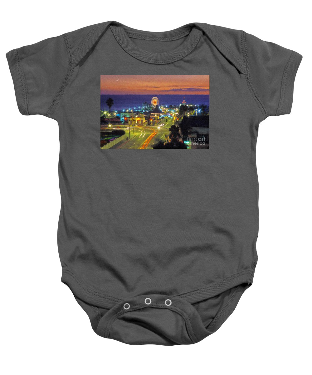 Santa Monica Baby Onesie featuring the photograph Santa Monica Ca Pacific Park Pier by David Zanzinger