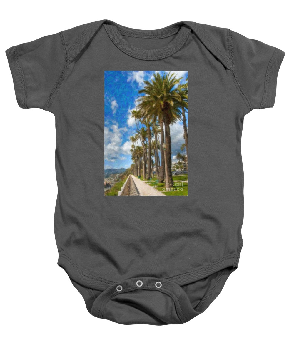 Santa Monica Ca Palisades Park Bluffs Baby Onesie featuring the photograph Santa Monica Ca Palisades Park Bluffs by David Zanzinger