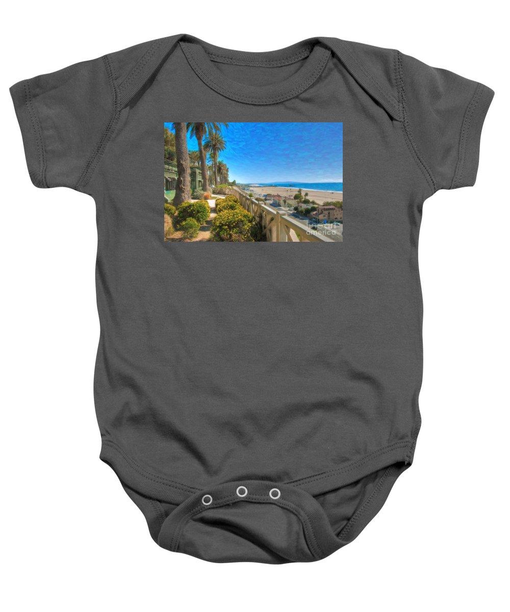 Santa Monica Baby Onesie featuring the photograph Santa Monica Ca Palisades Park Bluffs Gold Coast Luxury Houses by David Zanzinger