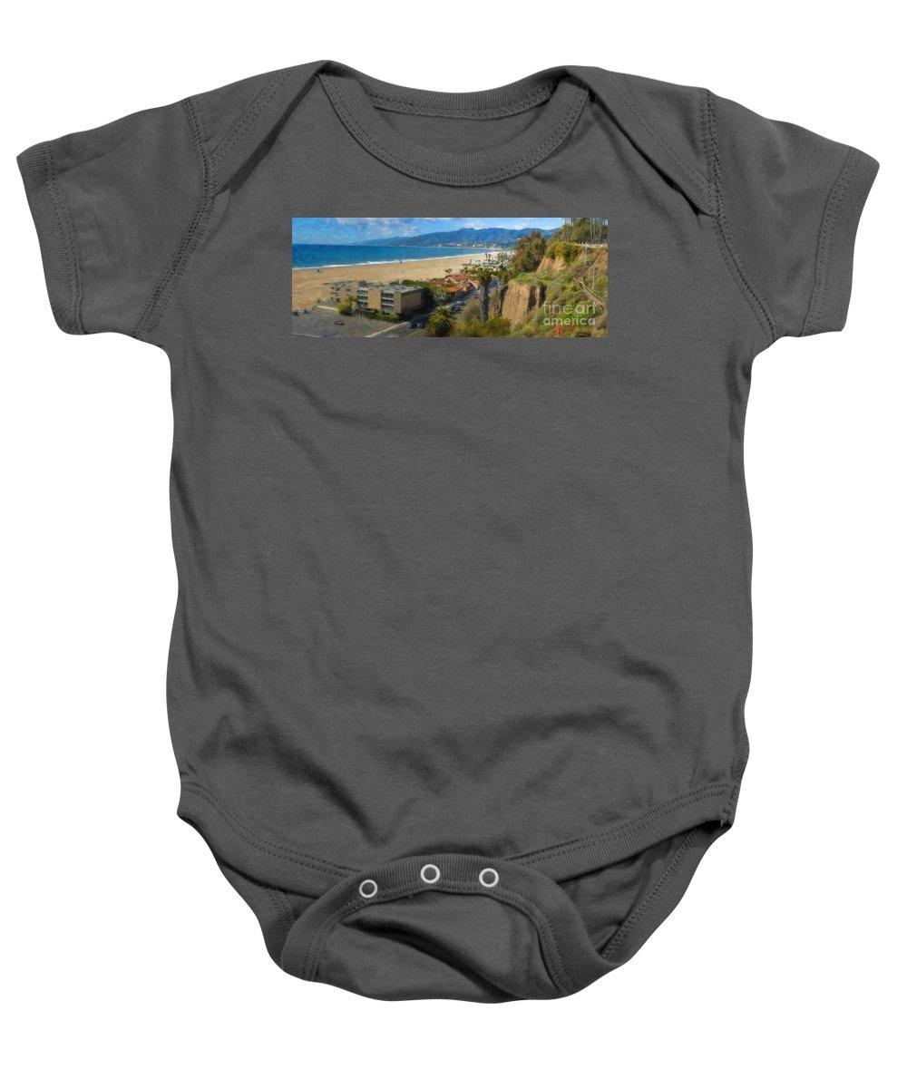 Santa Monica Baby Onesie featuring the photograph Santa Monica Ca Steps Palisades Park Bluffs by David Zanzinger