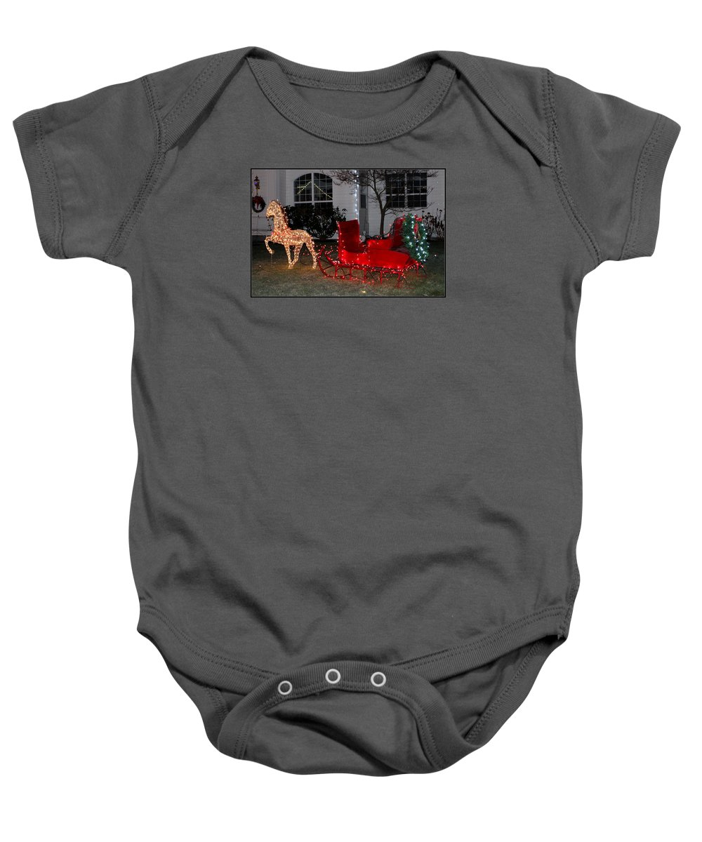 Santa Baby Onesie featuring the photograph Santa's Sleigh by Mina Thompson