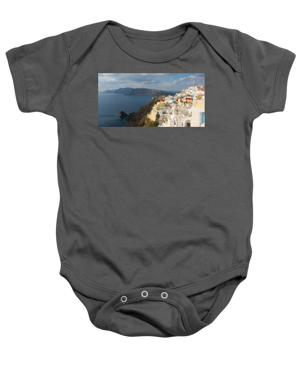 Santorini Baby Onesie featuring the photograph Santorini In The Afternoon Sun by Four Stock