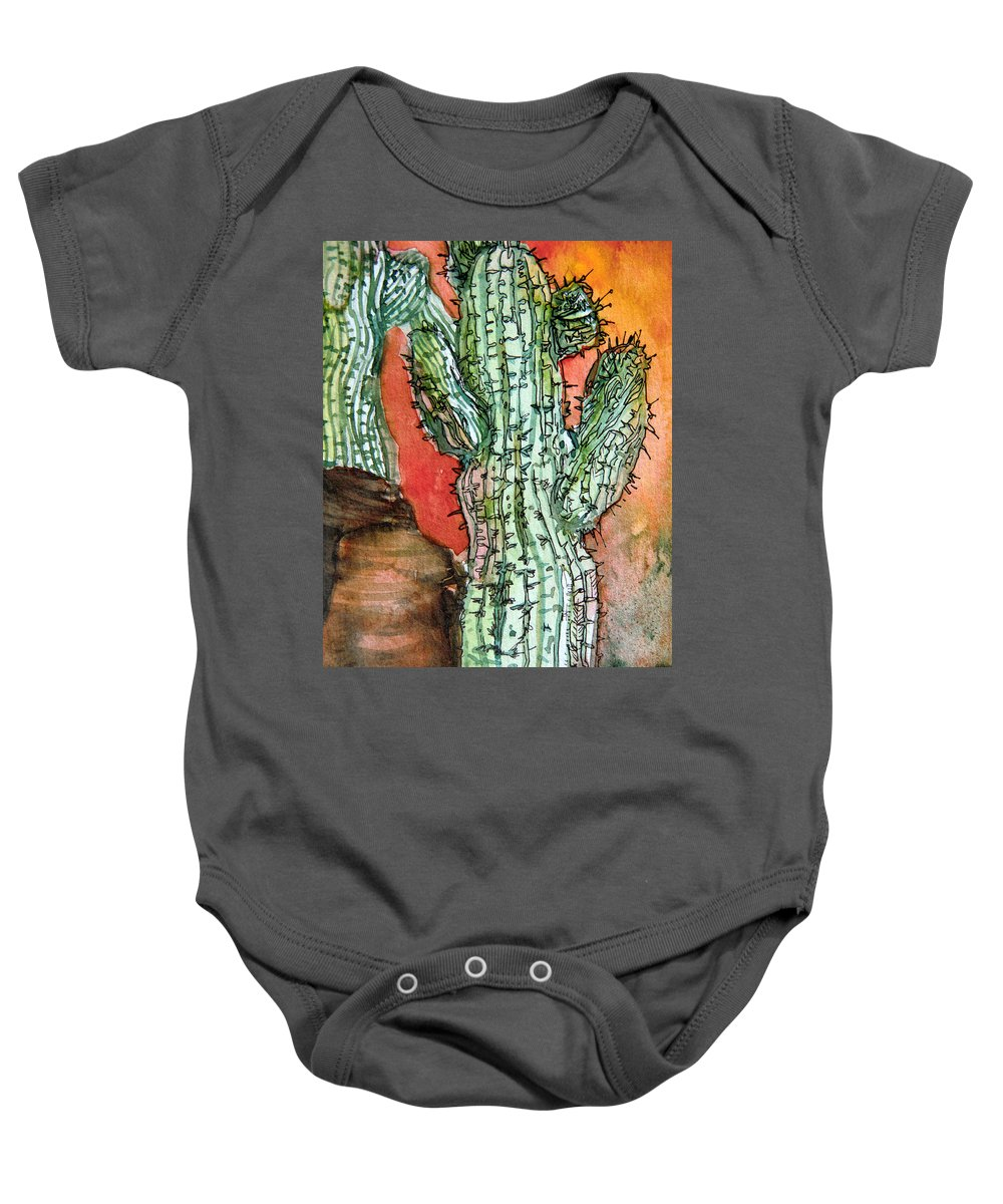 Cactus Baby Onesie featuring the painting Saquaros by Mindy Newman