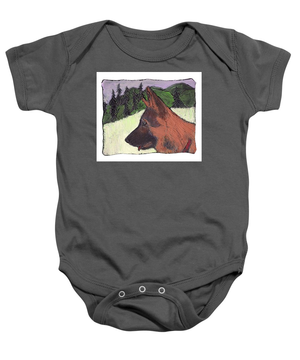 Dog Baby Onesie featuring the painting Sarge by Wayne Potrafka