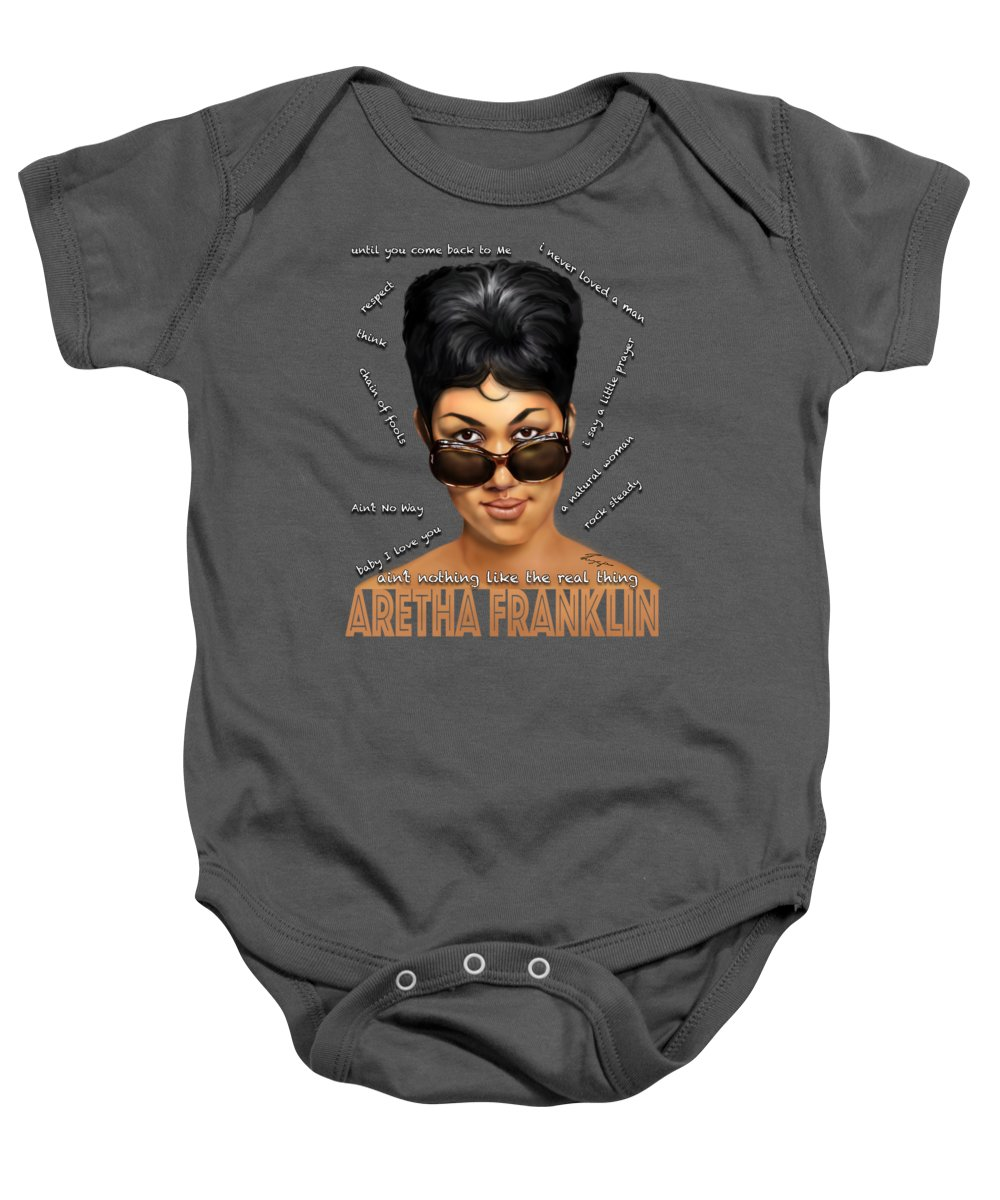 Aretha Franklin Baby Onesie featuring the painting Sassy The Cheeky Tshirt by Reggie Duffie