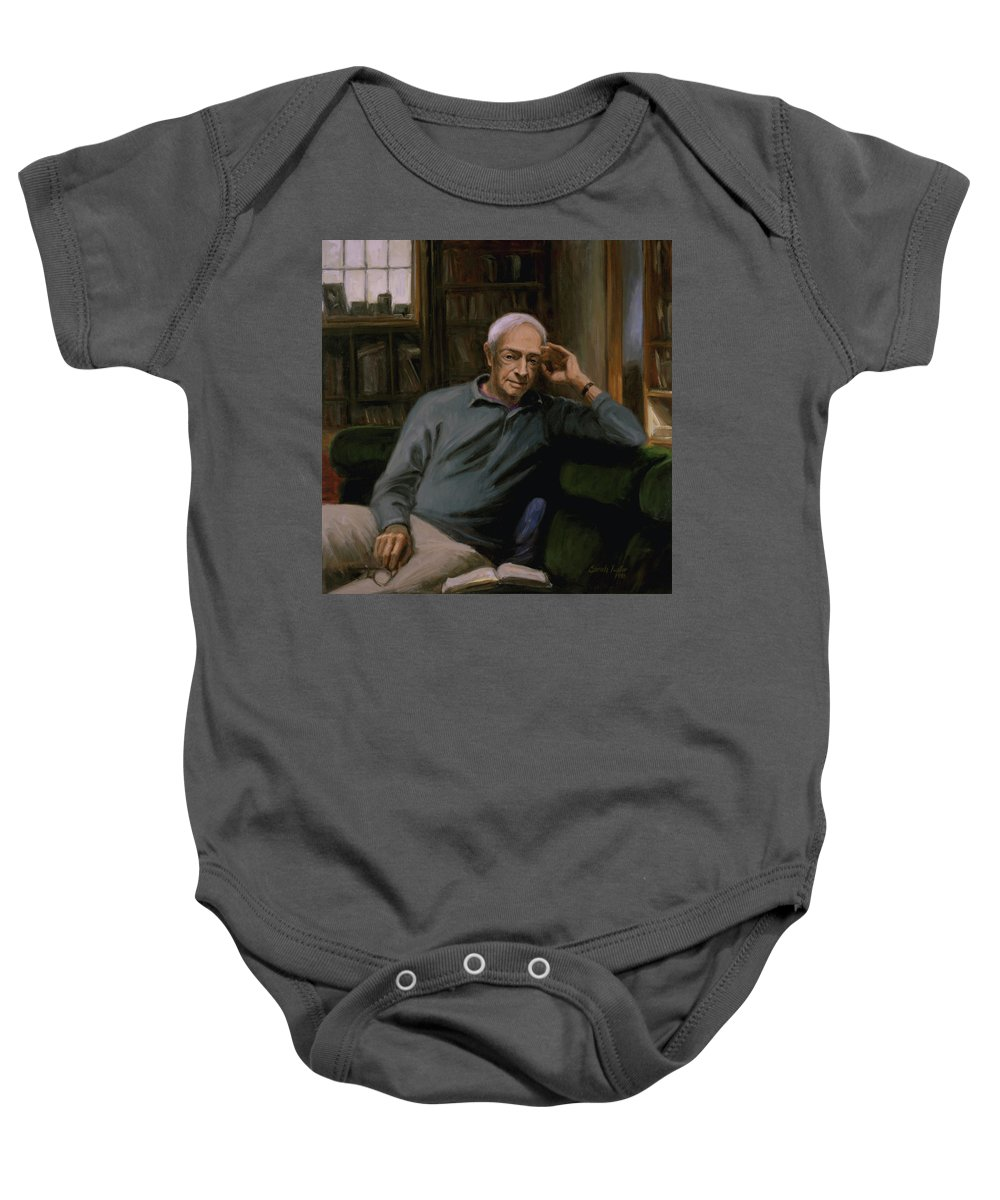 Saul Bellow Baby Onesie featuring the painting Saul Bellow by Sarah Yuster