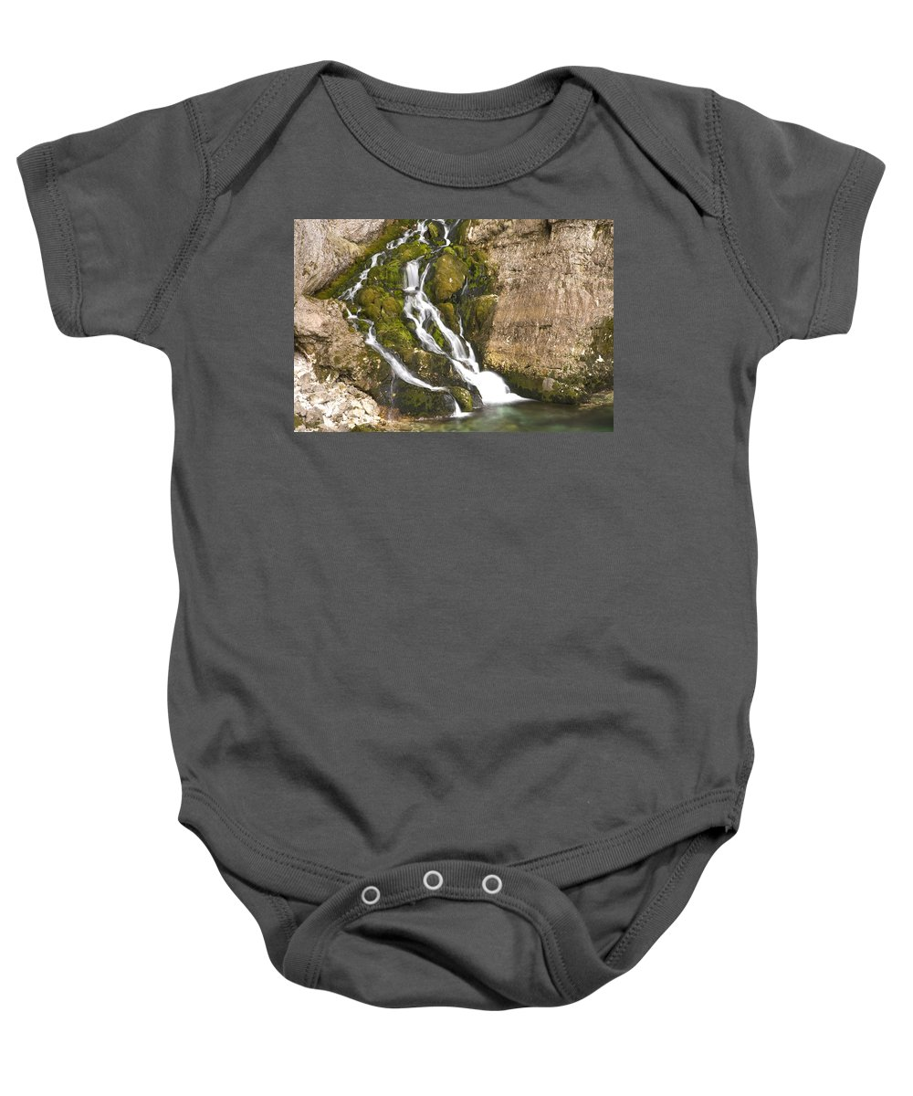 White Baby Onesie featuring the photograph Savica Waterfall by Ian Middleton
