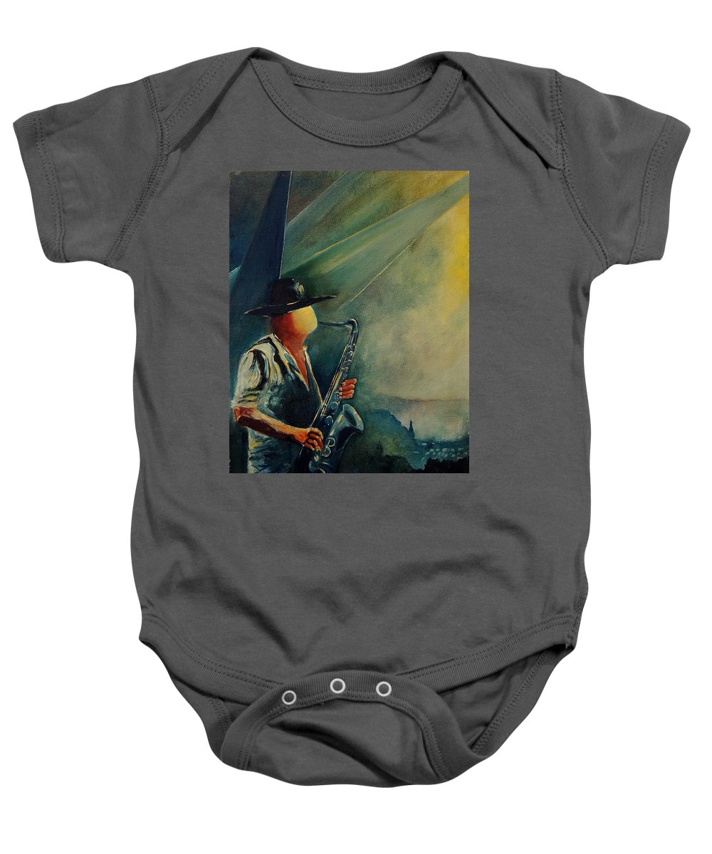 Music Baby Onesie featuring the painting Sax Player by Pol Ledent