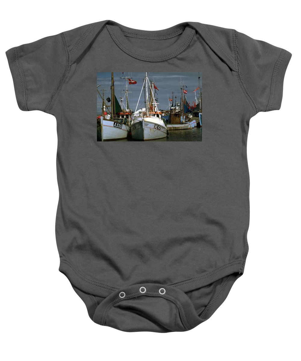 Scandinavian Baby Onesie featuring the photograph Scandinavian Fisher Boats by Flavia Westerwelle