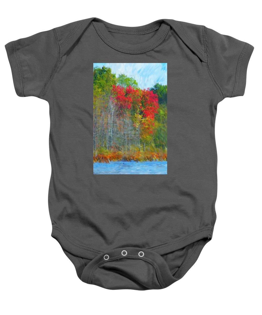 Landscape Baby Onesie featuring the digital art Scarlet Autumn Burst by David Lane