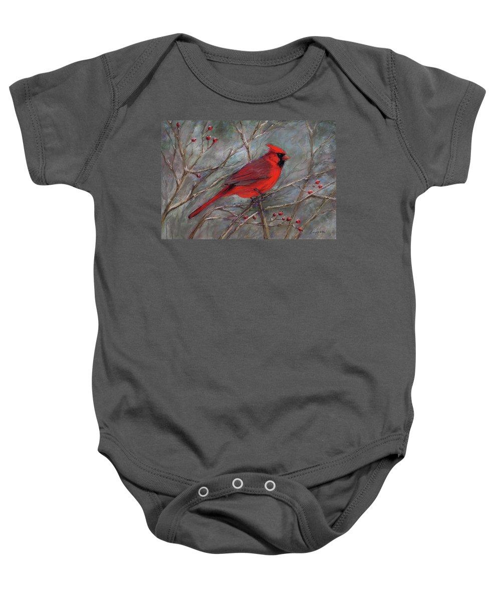 Cardinal Baby Onesie featuring the pastel Scarlet Sentinel by Vikki Bouffard