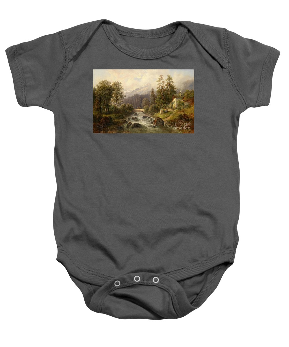 Gustav Barbarini Baby Onesie featuring the painting Scene From Weyer Upper Austria by Celestial Images