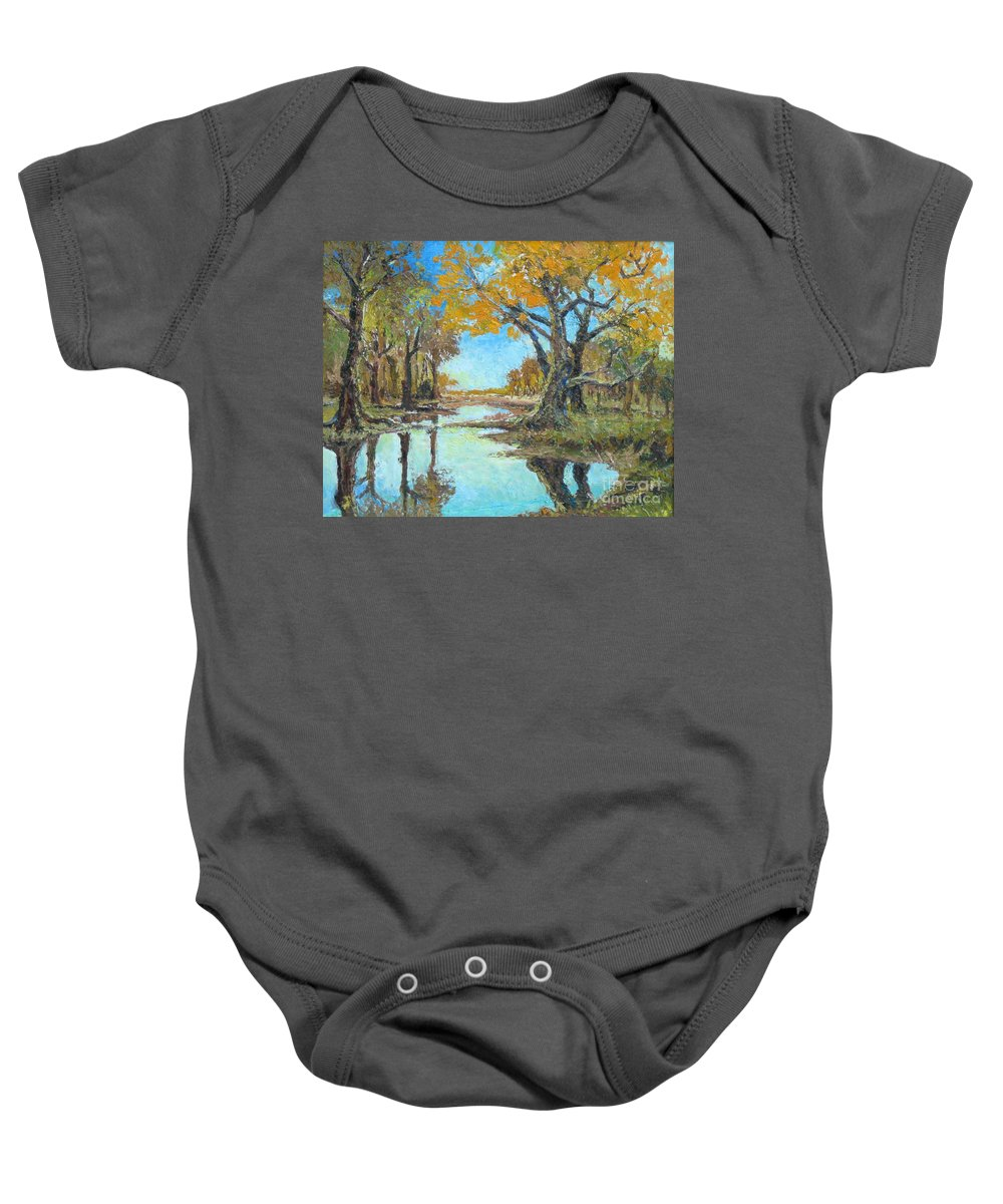 Yellow Baby Onesie featuring the painting Late Autumn by Meihua Lu