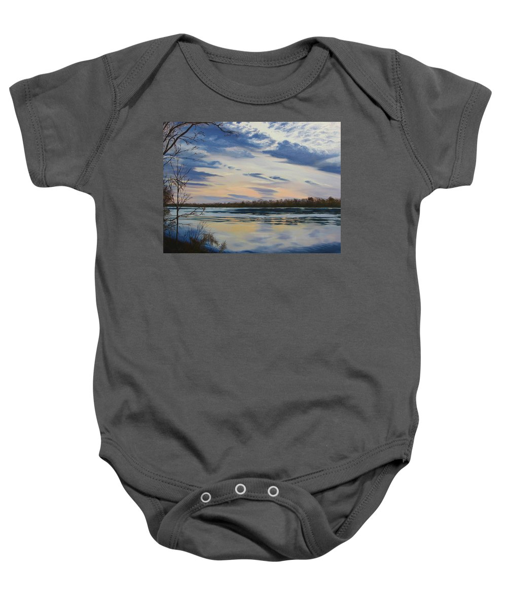 Clouds Baby Onesie featuring the painting Scenic Overlook - Delaware River by Lea Novak