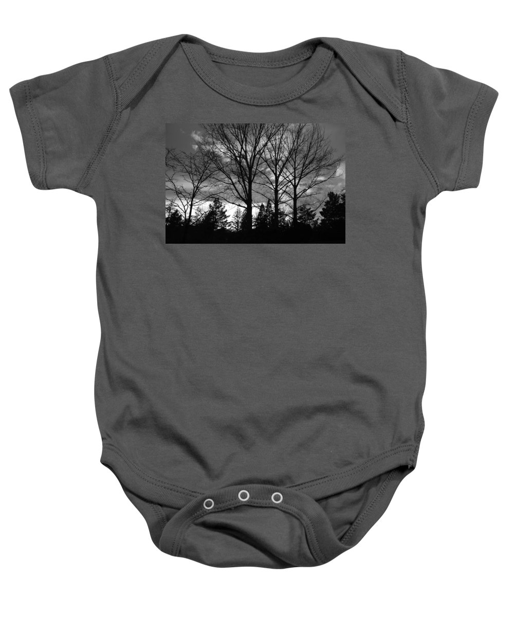 Black And White Baby Onesie featuring the photograph Scenic State Capital by Rob Hans