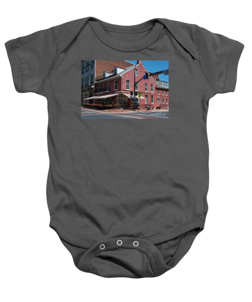 Schmankerl Stube Hagerstown Maryland Restaurant Restaurants Eatery Eatery Building Buildings Structure Structures Window Windows Architecture City Cities Cityscape Cityscapes Baby Onesie featuring the photograph Schmankerl Stube by Bob Phillips